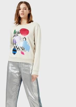 Emporio Armani Sweatshirt With Logo Print And Abstract Motif