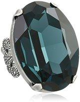 "Liz Palacios Circulo"" Large Oval Sapphire Crystal Adjustable Ring"