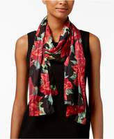 Collection XIIX Poinsettia Metallic-Stripe Scarf and Wrap in One