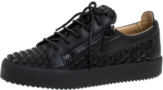 Giuseppe Zanotti Black Studded Rubber And Leather May London Slip On Sneakers Size 41.5