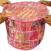 """Eyes of India 17"""" ROUND PATCHWORK EMBROIDERED OTTOMAN FLORAL POUF Ethnic Bohemian Decor"""