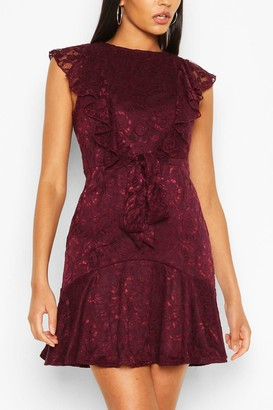 boohoo Lace Frill Skater Dress