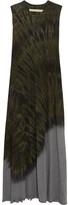 Raquel Allegra Tie-dyed Cotton-blend Jersey Maxi Dress - Army green