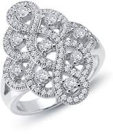Lafonn Micro Pave Simulated Diamond Sterling Silver Heart Beat Ring