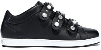 Jimmy Choo Ny Embellished Leather Sneakers