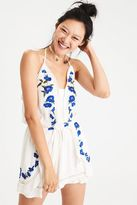 American Eagle Outfitters AE Embroidered Halter Romper
