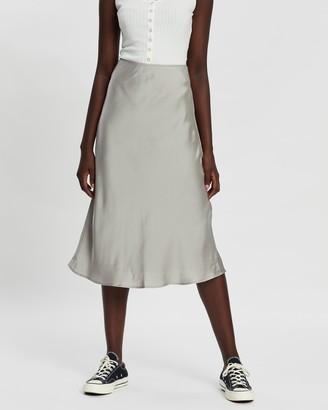 Abercrombie & Fitch Bias-Cut Satin Midi Skirt