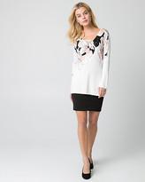 Le Château Floral Print Viscose Blend Tunic Sweater