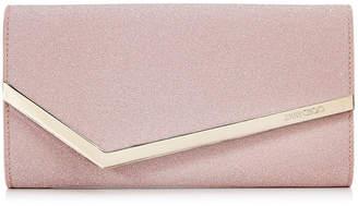 Jimmy Choo EMMIE Ballet Pink Fine Glitter Fabric Clutch Bag
