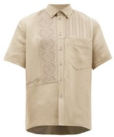 Rochas Embroidered-panel Canvas Overshirt - Mens - Brown