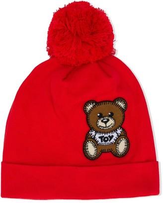 MOSCHINO BAMBINO Toy-patch pompom beanie hat