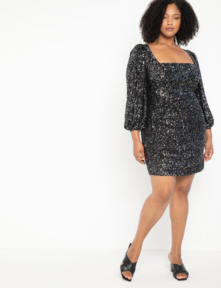 ELOQUII Square Neck Puff Sleeve Sequin Dress