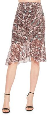 Parker Saffron Python-Print Skirt
