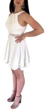 Emerald Sundae Juniors' Illusion-Neck Dress