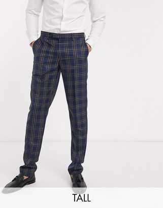 Harry Brown Tall slim fit blue and brown overcheck suit trousers