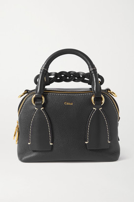 Chloé Daria Small Textured And Smooth Leather Tote - Navy