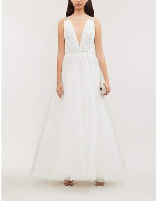 Jenny Packham Edita V-neck sequin-embellished tulle gown