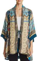 Johnny Was Embroidered Tie-Front Kimono