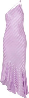 Mason by Michelle Mason One-shoulder Open-back Striped Silk-satin Midi Dress