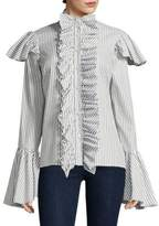 Caroline Constas Marla Stripe Bell-Sleeve Cotton Button-Down Shirt