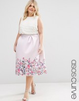 Asos Scuba Skirt with Printed Hem