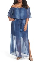 London Times Plus Size Women's Off The Shouider Maxi Dress