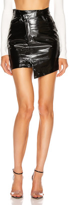 ZEYNEP ARCAY Asymmetric Mini Patent Leather Skirt in Black | FWRD