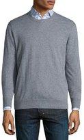 Neiman Marcus Cotton-Blend Crewneck Sweater, Medium Gray