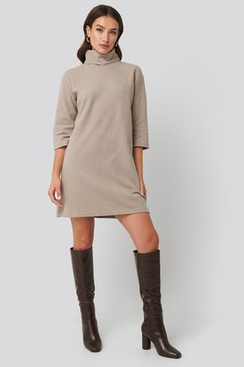 Trendyol Mini Knitted Polo Dress Beige