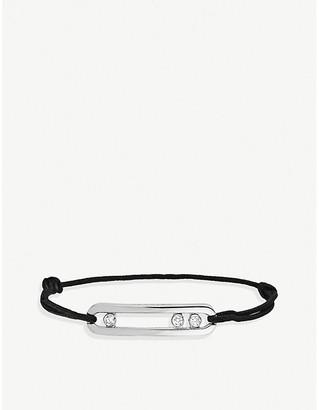 Messika Move 18ct white-gold, diamond and cord bracelet