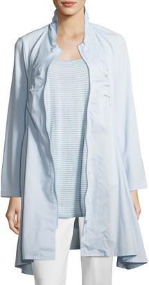 Joan Vass Zip-Front Stretch Knit/Woven Combo Jacket
