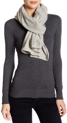 Portolano Light Grey Cashmere Knit Wrap Scarf