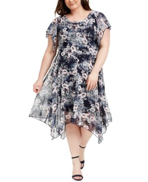 Robbie Bee Plus Size Cowlneck Floral-Print Midi Dress
