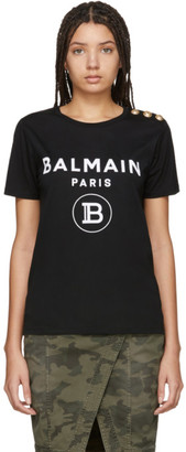 Balmain Black Button Flocked Logo T-Shirt