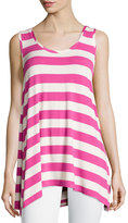 Chelsea & Theodore Striped Scoop-Neck Tank, Pink/Ivory