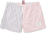 Thom Browne Two-tone Striped Cotton-poplin Boxer Shorts - Red