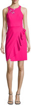 Marchesa Sleeveless Embroidered Ponte Cocktail Dress, Pink
