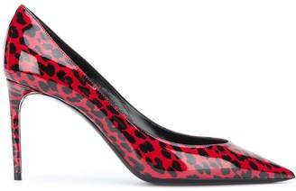 Saint Laurent Red Leopard Print Pumps