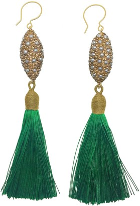 Farra Rhinestones Bordered Pearls Green Tassel Earrings