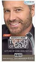 Just For Men Touch of Gray Brush-In Mustache & Beard Color Kit, Light & Medium Brown