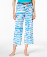 Hue Waves Printed Cotton Capri Pajama Pants