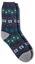 Merona Women's Crew Socks Xavier Navy Fairisle Brushed for Warmth One Size