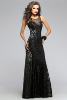 Faviana s7813 Illusion Sequined Evening Gown