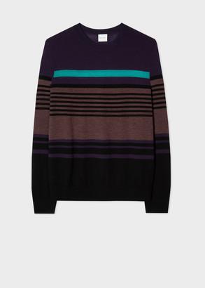 Men's Purple Stripe Wool-Blend Sweater