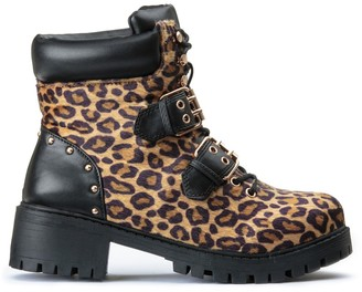 Vero Moda Luisa Chunky Buckled Boots in Leopard Print