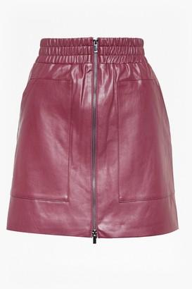 French Connection Brishen PU Zip Front Mini Skirt