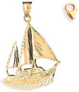 JewelsObsession 14K Yellow Gold 49mm Pirate Ship Charm w/ Lobster Clasp