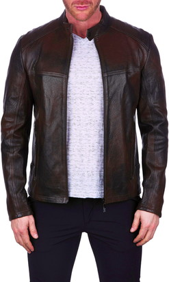 Maceoo Hammer Leather Bomber Jacket