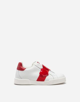 Dolce & Gabbana Portofino Light Sneakers In Nappa Leather With Hearts