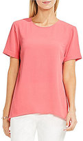 Vince Camuto Short Sleeve High-Low Hem Textured Blouse